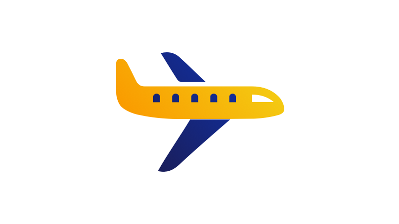Illustration of a blue and gold airplane.