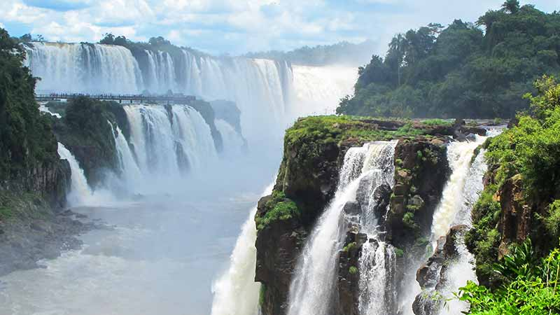The majestic Iguaza waterfalls, on the border of Argentina and Brazil.