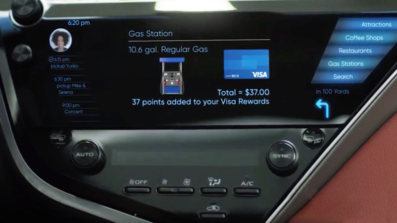 A closeup of Visa's connected car dashboard, that shows the gas station payment feature.